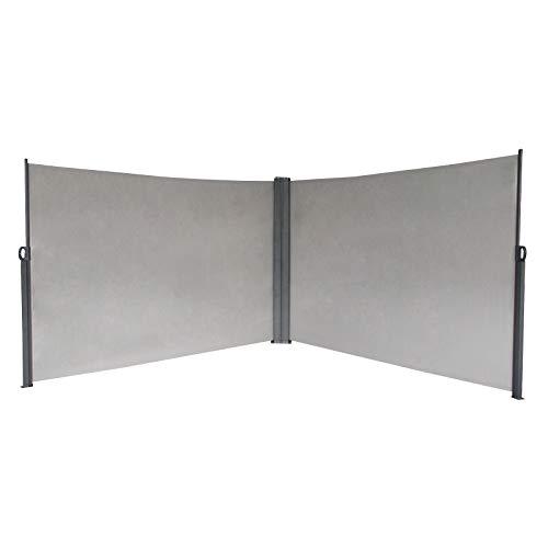 SVITA Doppel Seitenmarkise Sichtschutz Sonnenschutz ausziehbar 600x160cm Hellgrau