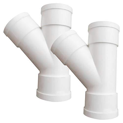 SENDILI Adattatore per Tubo Dell'acqua - 2 Pezzi Connettori Mobili 45 Gradi Obliquo a 3 Vie da 40mm & 50mm, Bianco, 50mm