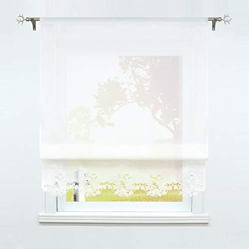 SCHOAL Raffrollo mit Tunnelzug Voile Raffgardine Weiß Transparente Küche Gardinen Bändchenrollo mit Blumen Stickerei 1 Stück BxH 100x155cm