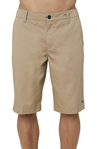 O'NEILL Men's Standard Fit Chino Walk Short, 22 Inch Outseam (Khaki/Redwood, 34)