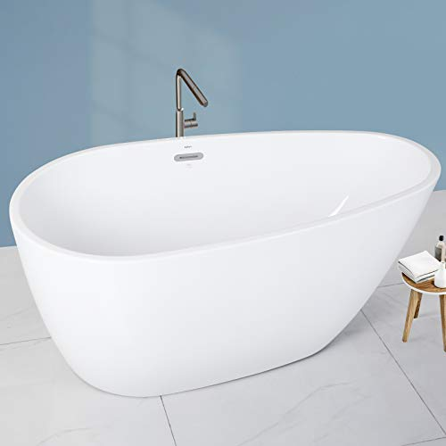FerdY Naha 59' Acrylic Freestanding Bathtub, Curve Edge Freestanding Soaking Bathtub, Glossy White, cUPC Certified, Toe-Tap Chrome Drain & Overflow Assembly Included, 02588