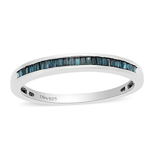TJC Natural Blue Diamond Half Eternity Band Ring for Women in Platinum Plated 925 Sterling Silver, TCW 0.25ct.