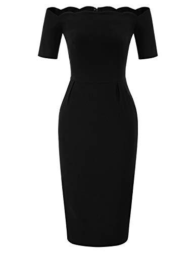 Belle Poque elegant sexy Bodycon Kleid Damen Baumwolle Casual Kleid Knielang Partykleid BP892-1 L
