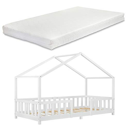 Kinderbett mit Matratze und Rausfallschutz 90x200 cm Hausbett mit Lattenrost und Gitter Bettenhaus aus Holz Spielbett Weiß