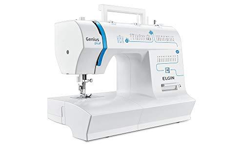 Maquina de Costura Genius Plus, 110V, Portátil, Versátil, Elgin, Branco / Azul