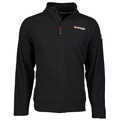 Anapurna Tonneau Herren-Fleece, voller Reißverschluss, zwei Taschen vorne, langarm, WT135, Schwarz-L
