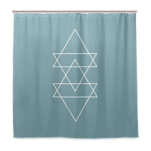 Unbekannt Duschvorhang-Set für Badezimmer, geometrisch, modernes Design, minimalistisches Dreieck, Polyester-Stoff mit Haken, 183 x 183 cm, Schieferblau