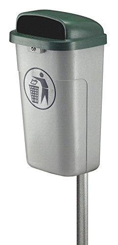 Hygiene-shop Top-Select Cubo de basura ignífugo de 50 litros para exteriores, color: gris/verde