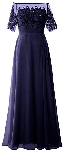 MACloth Women Long Mother of Bride Dress Off Shoulder Lace Wedding Evening Gown (Custom Made, Dark Navy)