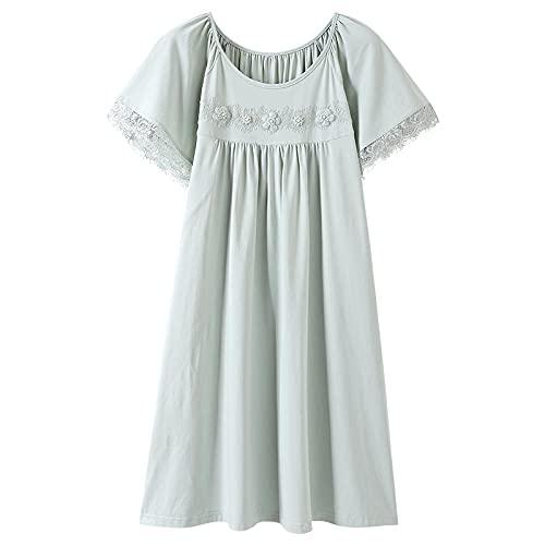 KKLLHSH Ropa de Dormir Verano Modal Floral Mujer Camisón de Manga Corta Casual Tallas Grandes Ropa de Dormir Vestido de Noche-Green_L