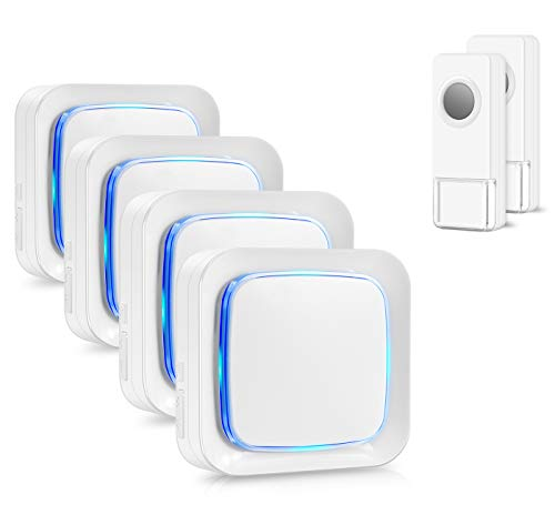 Wireless Doorbell Kit, Coolqiya Door Bell Chime with 2 Waterproof Transmitters and 4 Plug-in Receivers for Home 58 Ringtones