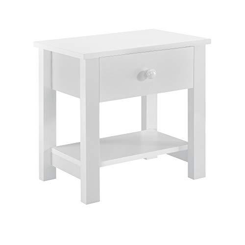 [en.casa] Nachttisch - Nachtschrank Schublade Nachtkommode Kommode Ablage Weiß