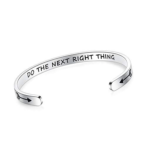 SAM & LORI Do The Next Right Thing Inspirational Cuff Bracelet Bangle Motivational Mantra Quote Stainless Steel Engraved Best Friend Sister Gift for Women Teen Girls with Hidden Message