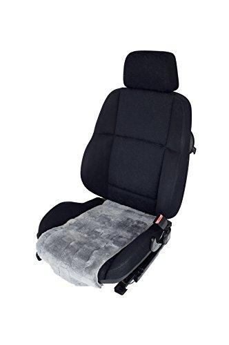 Autofell-Auflage aus Lammfell/ Sitzfläche Breite 30cm x Länge 70cm Patchwork (Taubenblau) Fellhöhe 20mm