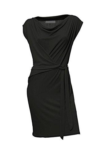 Heine Damen-Kleid Wickelkleid Schwarz Größe 38