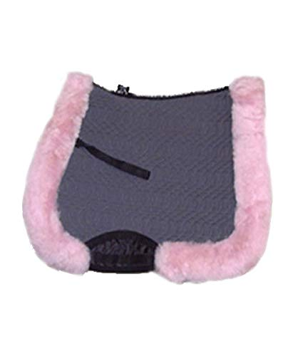 Engel Full Square All Purpose Saddle Pad with Sheepskin Full Rolled Edge (Charcoal Pink)