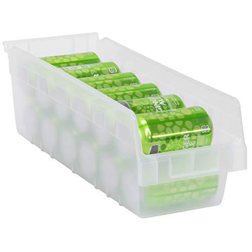 Akro-Mils 30098 Plastic Nesting ShelfMax Storage Bin Box, (18-Inch x 6-Inch x 6-Inch), Clear, (10-Pack)