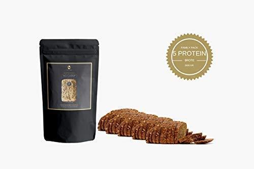 Mezcla para hornear pan de proteínas Sin Carb (Paquete la familia - 900g.). Con 20% de contenido proteico | Sin carbohidratos | Sin cereales | Sin gluten | Para Paleo, Keto, dieta baja en carbohidratos y desarrollo muscular | También adecuado para diabéticos