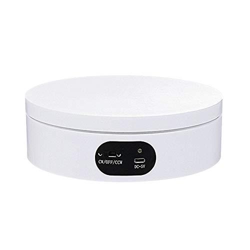 JRPT 360° USB Base Giratoria Eléctrica para Exteriores,Plataforma Rotatoria Automática para Exhibición de Joyas de Productos/Blanco / 12cm×4.5cm