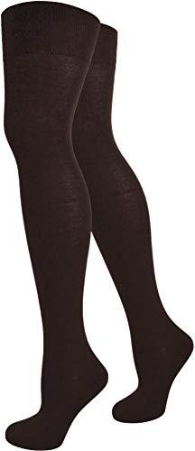 normani Damen Overknee Überknie halterlose Strümpfe in schwarz weiß und gestreift Farbe Braun/Uni Größe 2 Paar