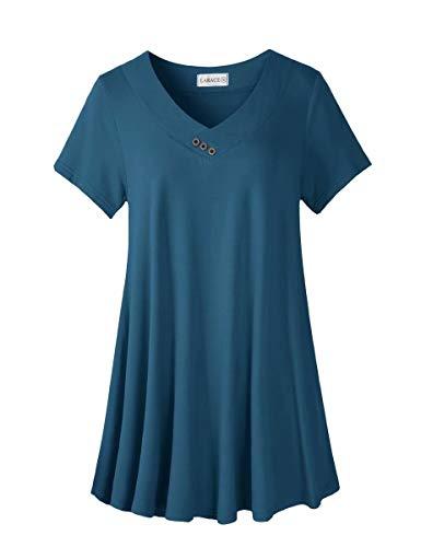 LARACE Women's Plus Size Tunic Tops Short Sleeve V Neck Floral Blouses Basic Flowy Leopard Print T Shirts for Leggings, Steel Blue M