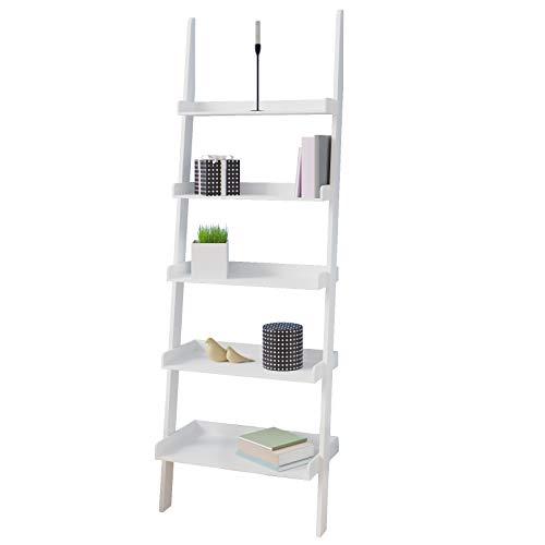Deuba Estantería Estante tipo escalera Librero de madera Blanco 180x64x37cm almacenamiento para baño cocina sala de estar