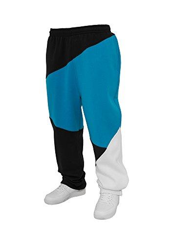 Urban Classics Jogginghose Zig Zag Sweatpants Pantalons, Blanc/Noir/Turquoise, 38W x 33L Homme