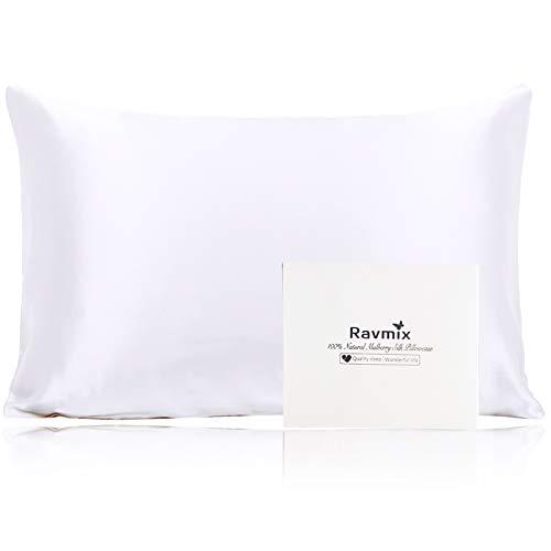 Ravmix 100% Pure Mulberry Silk Pillowcase Standard Size 21 Momme 600 Thread Count Hair Skin Hidden Zipper, Hypoallergenic Soft Breathable Both Sides Silk Pillow Case, 20×26inch, White