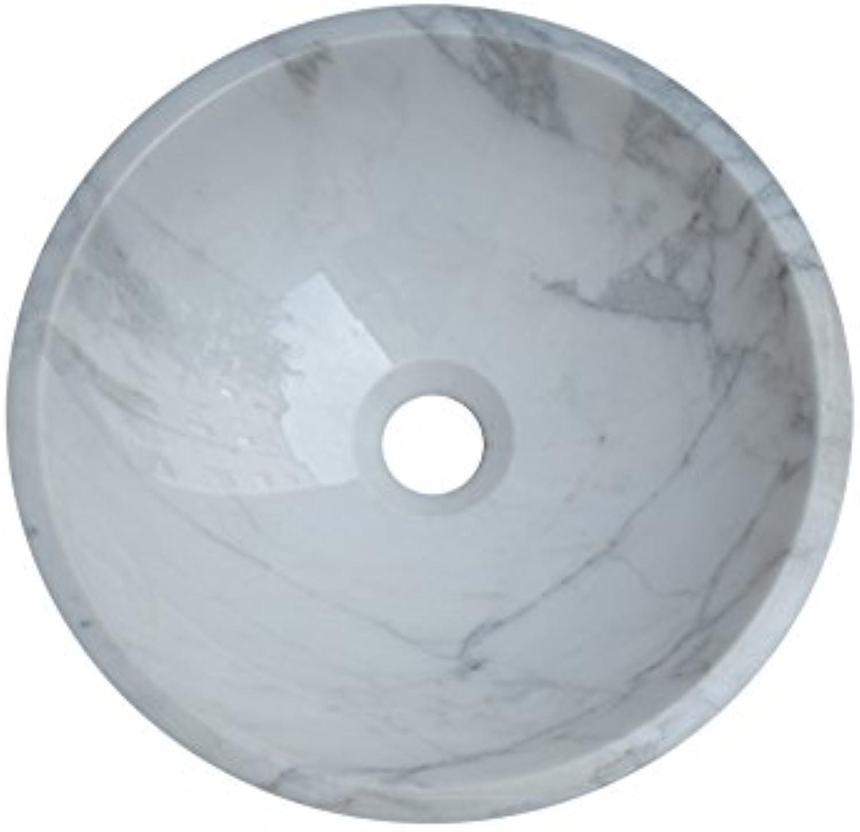 Waschbecken Waschschale Material 100% Naturstein, Aufsatzwaschbecken Handwaschbecken Marmor Granit, rund, Farbe  wei-hellgrau, Durchmesser 34cm