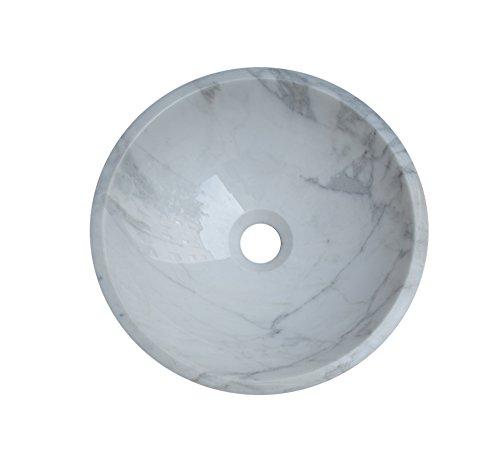 Waschbecken Waschschale Material 100% Naturstein, Aufsatzwaschbecken Handwaschbecken Marmor/Granit, rund, Farbe: weiß-hellgrau, Durchmesser 34cm