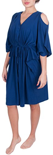 My Bella Mama Maternity Nursing Kaftan Hospital Gown (S/M, Blue)