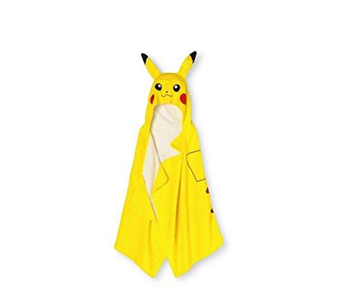Pokemon Pikachu Serviette de bain à capuche en tissu éponge Jaune
