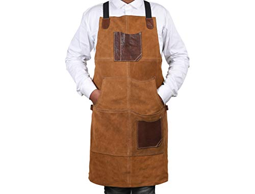 One Size Fits Utility Apron   Adjustable Cross-Back Straps   Multi-Use Shop Apron With Tool Pockets By Aaron Leather Goods (Leather - Chestnut)