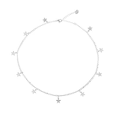 Fremttly Handmade Simple 14K Gold Plated/Silver Plated Delicate Dainty Star Choker Necklace for Womens-Star-Silver