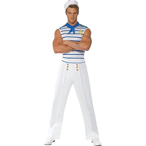 Smiffys Disfraz Fever de Marinero francés, con Top, Pantalones y pañoleta de Cuello