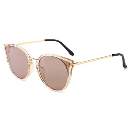 SUNGAIT Mujeres Ojo de Gato Polarizadas Vintage de Gran Tamaño UV-Protección Gafas de Sol(Marco Marrón Transparente/Lente Marrón)