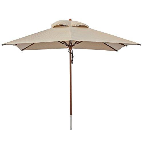 anndora® Sonnenschirm Gartenschirm Marktschirm 3 x 3 m eckig wasserabweisend + Winddach Dark Natural