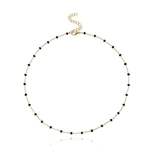 LKHJ Collar con Colgante de Cuentas Negras, Collar de Encanto para Mujer, Collar de Gargantilla de Cadena de Color Dorado y Plateado a la Moda, Regalos de joyería