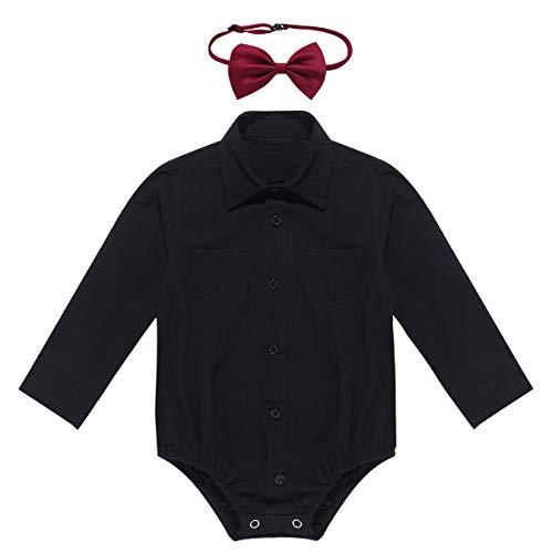 MSemis Baby Taufkleidung - Baby Jungen Strampler Kurzarm/Langarm Overall Smoking Anzug Baumwolle Hemd mit Bowknot Weihnachts/Taufstrampler Langarm Schwarz 68