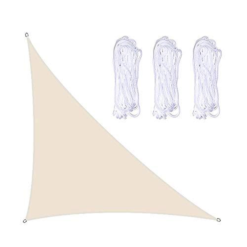 WlP Triangle Sun Shade Sail Lona Impermeable para sombrilla con Gancho D y 3 Cuerdas Anti-UV para jardín al Aire Libre Patio Fiesta Patio Trasero Refugios para Acampar 3 X 4 X 5 m (Color : Beige)