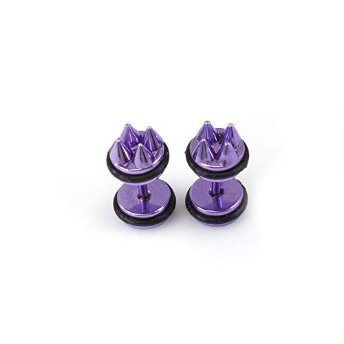 BodyJewelryOnline - Pendientes falsos para oreja, diseño de pinchos metálicos (16 g) Morado