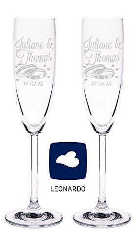 GRAVURZEILE Leonardo Sektgläser mit Gravur von Namen & Datum im - Wedding Design - als Geschenk zur Hochzeit - Personalisierte Geschenke - das perfekte Hochzeitsgeschenk