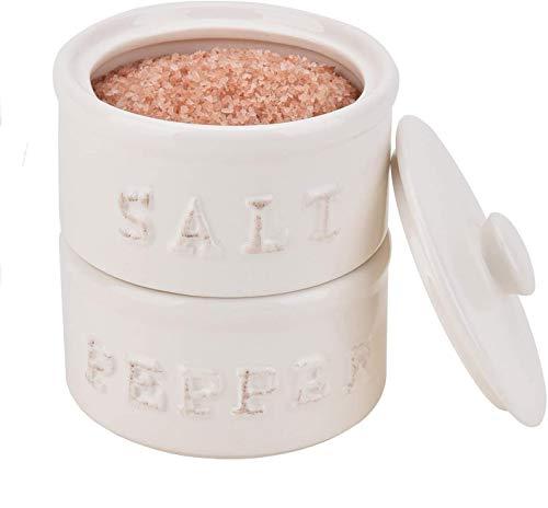 Ceramic Pantryware Vintage Salt and Pepper Stack Cellar farmhouse style for Himalayan, Kosher and Sea Salts Salt Pig