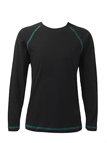 Kaerm Kids Boys Cotton Long Sleeves Casual Tops Workout Jogging T-Shirt Activewear Sun Protection Cropped Black 7-8