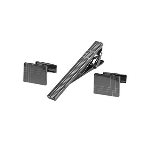 ZCX Rechteckige Gewehr-Schwarz-Laser-Streifen-Männer Französisch Hemd Krawattenklammer Manschettenknöpfe Set Krawattennadeln