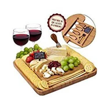 Cheese Board and Knife Set - Natural Crafted Bamboo Wood for Slicing Cheese, Meat, Fruits, Vegetables | Hidden Drawer with 4 Stainless Steel Cutting Knives and Serving Utensils | by Weegee