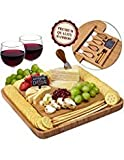 Cheese Board and Knife Set - Premium Quality Bamboo Charcuterie Platter for Slicing Cheese, Meat, Fruits, Vegetables - Hidden Drawer with 4 Stainless Steel Cutting and Serving Utensils - by Weegee