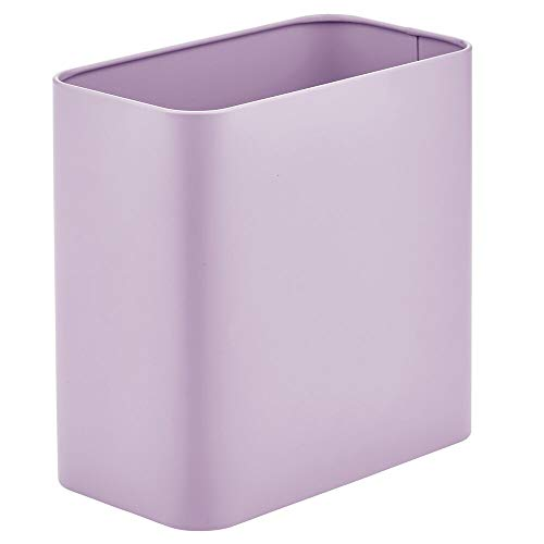 mDesign Rectangular Modern Metal Trash Can Wastebasket, Garbage Container Bin - for Bathrooms, Powder Rooms, Kitchens, Home Offices - Light Purple