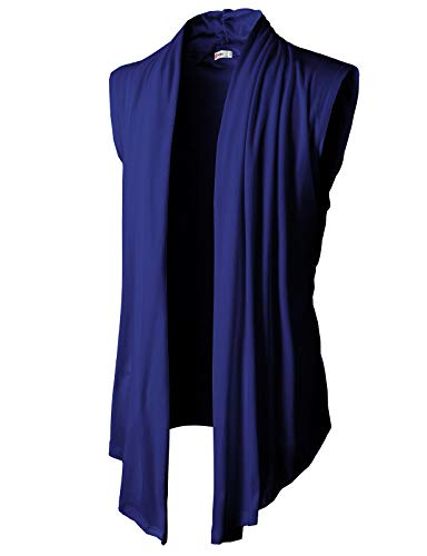 H2H Men's Shawl Collar Sleeveless Cardigan with No Button Blue US 3XL/Asia 4XL (KMOCASL01)