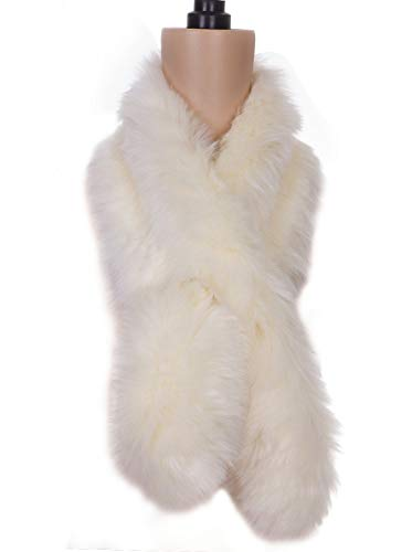 "Vijiv 1920s Gatbsy Vintage Shawl Wrap Scarf For Winter Coat Evening Dresses 45"" Ivory One Size"